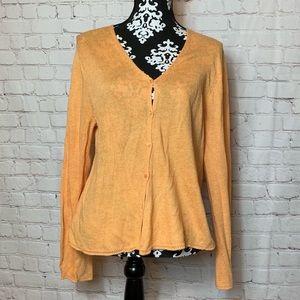 Eileen Fisher Orange Button Down Cardigan Size L